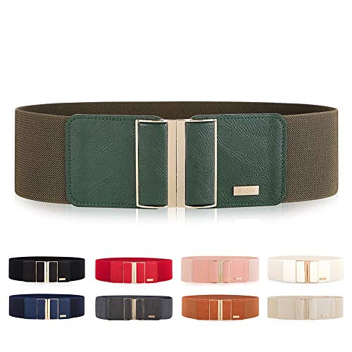 MIJIU Gürtel Elastischer für Damen Breiter Taillengürtel verstellbaren Guertel mit Legierung schnalle (Armee-grün) -