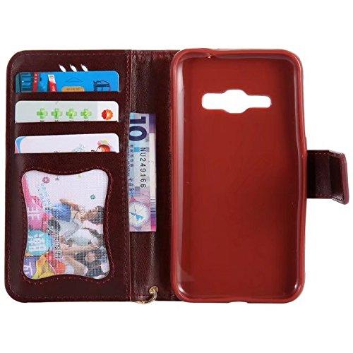 Horrizontal Folio Stand PU Ledertasche, Magnetverschluss Wallet Geldbörse Abdeckung Fall mit Lumious Shining Effekt & Lanyard für Samsung Galaxy J120 ( Color : Rose-red ) Brown