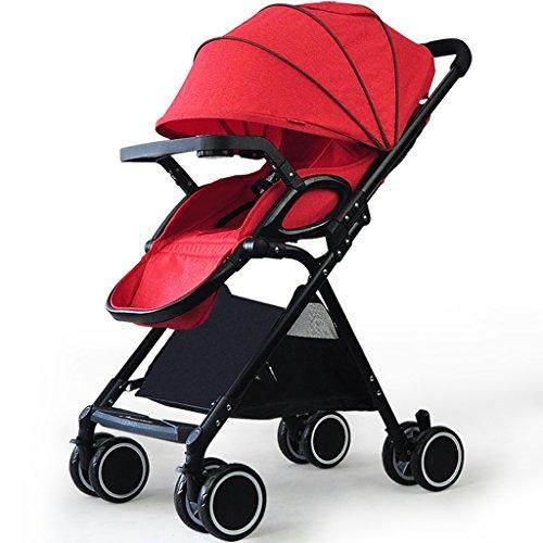 Kinderwagen-Trolley für Kinderwagen Ultralight Kinderwagen-Stoßdämpfer, die einen Knopf Falten, sammeln Kinderwagen-Buggys (Color : Red, Größe : 5.98 * 20.07 * 37inchs)