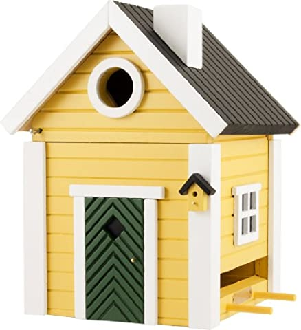The Present Store Cottage Plus Multiholk Mangeoire en forme de maison pour oiseau Fixation murale ou sur pied Jaune