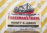 Fisherman amigo Miel y limón sabor mentol libre de azúcar Pastillas - 12 x 25 g