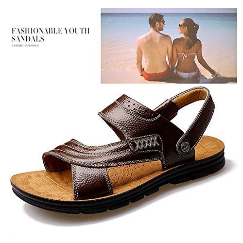 Gaorui chaussures sandale plate en cuir pour ete plage et promenade Noir
