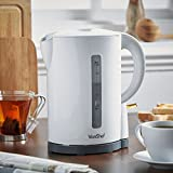 VonShef Electric Kettle with Boil Dry Protection and Removable Filter – Cordless, White, 1.7L – 2200W