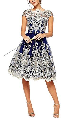 U-shot -  Vestito  - stile impero - Maniche corte  - Donna Blue