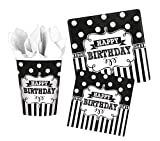 Foxxeo 32 Teile Black & White Geburtstags-Deko Set 8 Personen Birthday Geburtstag Party