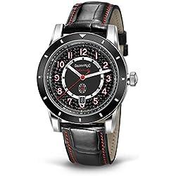 Clock Eberhard Tazio Nuvolari 41032Breaker quandrante Steel Black Leather Strap