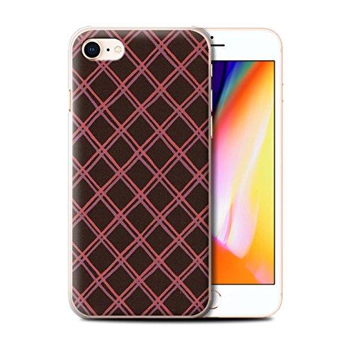 Stuff4 Hülle / Case für Apple iPhone 8 / Rot/Grün Muster / Kreuz Muster Kollektion Rot/Schwarz