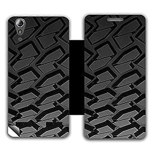 Skintice Designer Flip Cover with a hi-res printed Vinyl Wrap-around for Lenovo A6000 , Design - Car Tyre
