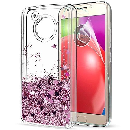 LeYi Hülle Motorola Moto E4 Glitzer Handyhülle mit HD Folie Schutzfolie,Cover TPU Bumper Silikon Flüssigkeit Treibsand Clear Schutzhülle für Case Motorola Moto E4 Handy Hüllen ZX Rot Rosegold