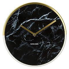 Idea Regalo - Karlsson Delight Orologio da Parete di Marmo, Pietra, Oro/Nero