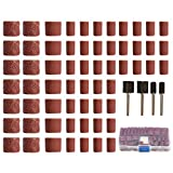 EsportsMJJ 100Pcs 60/120/320Grano Tambor Kit De Lijado Para Herramientas Rotatorias Dremel Con 1/21/4Pulgadas Lijado Mandriles