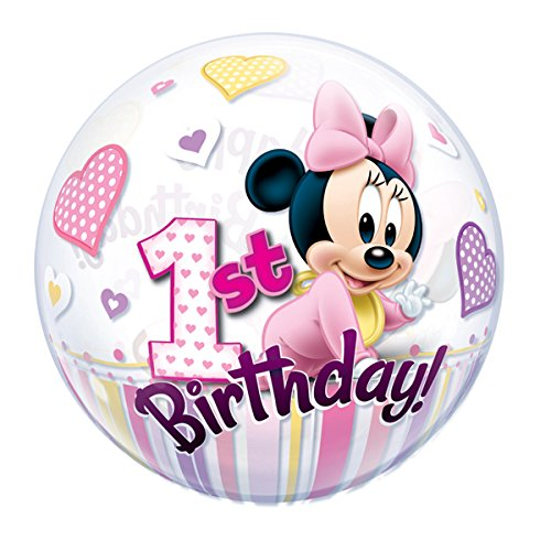 Qualatex 32.669,5 cm Single DN Minnie Maus 1. Bday 2,5 cm Bubble Ballon, 22 (Minnie Maus 1. Geburtstag Luftballons)