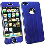 Emartbuy® Apple Iphone 5 5s Lcd Displayschutzfolie Und Gebürstet Alumimium Effect Front-Und Back Sticker / Case / Cover Blau