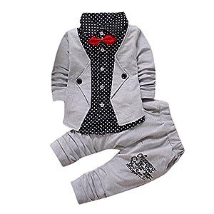 Estilo Británico Ropa De Niños,Sylar Moda Dos En Uno Solapa Arco Manga Largo Botón Sudadera+Simple Pantalones Conjunto… 9