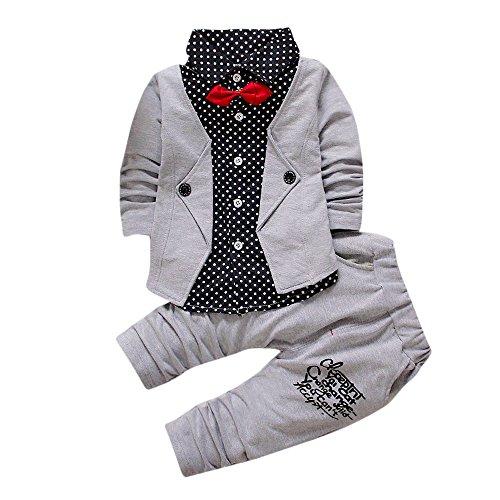 Rosennie_Baby Junge Bekleidungsset Formal Babyanzug Ausrüstungs-Set Gentleman Plaid Shirt + Hose mit Ausstattung Baby Boy Party Taufe Hochzeit Tuxedo Bow Anzug Kleidung Set (Grau A,90) Tuxedo-overall