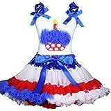 Petitebelle cumpleaños vestido azul lunares Cupcake camiseta RWB Star Cintura Falda 1–8Y