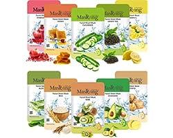 Masking Beauty Facial sheet Mask (Combo of 10 Pack) for Skin Lightening, Glowing, Hydrating, Nourishing, Brightening, Regener