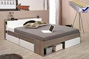 Doppelbett Morris 2 Eiche Silber Nb 160x200 Lattenrost