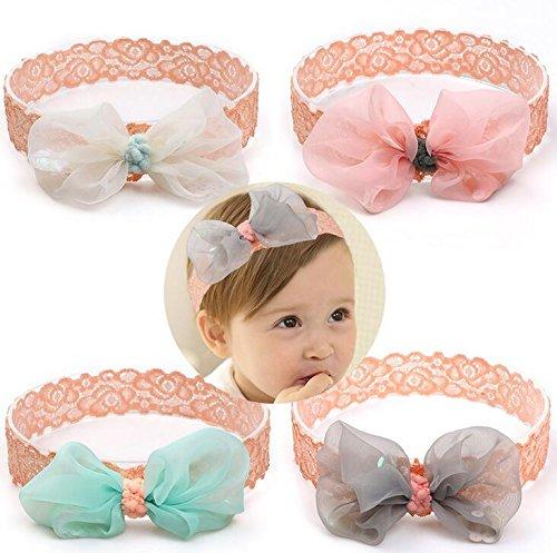 Tukistore 4 Stück Baby Mädchen Super Stretchy Stirnband Spitze Blume Baby Haarband Neugeborenen Bowknot Haar Zubehör