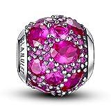 Charm Argent Sterling 925 Charm Multi pierres de cristal Compatible Pandora Chamilia, Rouge