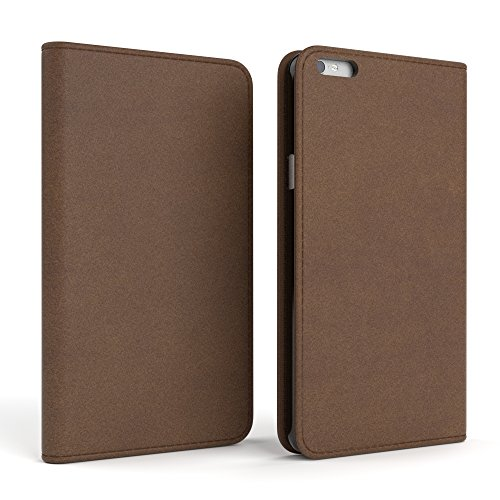 Apple iPhone 6S Plus / 6 Plus Tasche, EAZY CASE Book-Style Case Jeans, Premium Handyhülle mit Kartenfach, Schutzhülle Geldbeutel mit Standfunktion, Wallet Case in Hellgrau Braun - Vintage