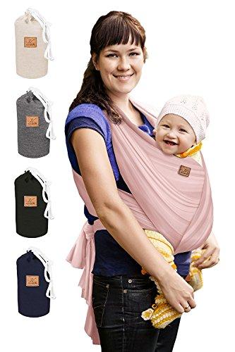 SOVERDE® Sehr langes elastisches 540cm Babywrap für jeden Körpertypen • Farbe ROSA • Mit deutschsprachiger Bindeanleitung • Trage mit Liebe Rosa Kleinkind-wagen