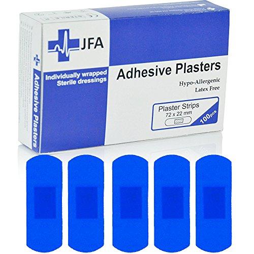 JFA - Confezione da 100cerotti, 22 x 72 mm, dimensione grande, colore: blu