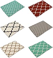 HACASO Geometric Pattern Cotton Linen Placemats Set of 6 Dining Table Mats Green
