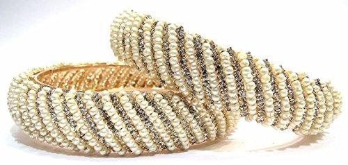 Shingar jewellery gold plated moti zircon kada bangles in 2.10 size for women (6000-bc-2.10-a)