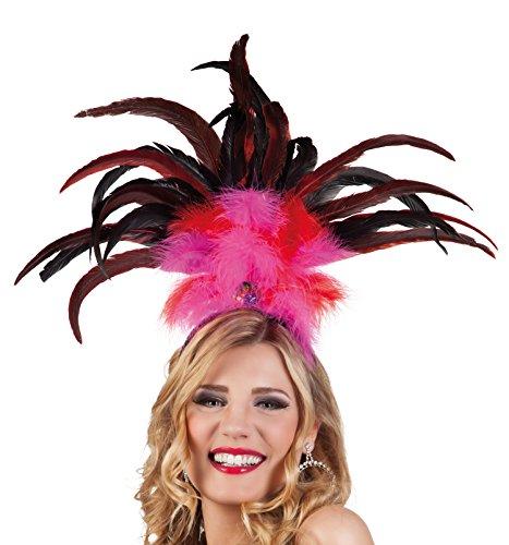 Boland 52283 - fascia per capelli rio, con piume, taglia unica, rosa/rosso