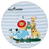 BeBeCute Kinderteppich Rund Krabbeldecke Groß Gepolstert spielmatte Baby Spieldecke Aufräumsack Outdoor Teppich Rund Weich