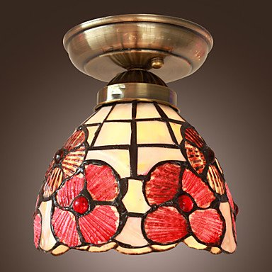 40W Artistic Flush Mount Light with Tiffany Glass Shade in Mosaic Floral Style , 220-240V