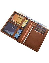 Gewaschenes Rindleder Ausweis- und Kreditkartenetui mit Geldscheinfach MJ-Design-Germany in Cognac