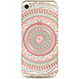iPhone SE/5/5S Funda, MUTOUREN Funda de Silicona Suave Case Cover Protección cáscara Soft Gel TPU Carcasa Funda para iPhone SE/5/5S - Red and blue Mandala