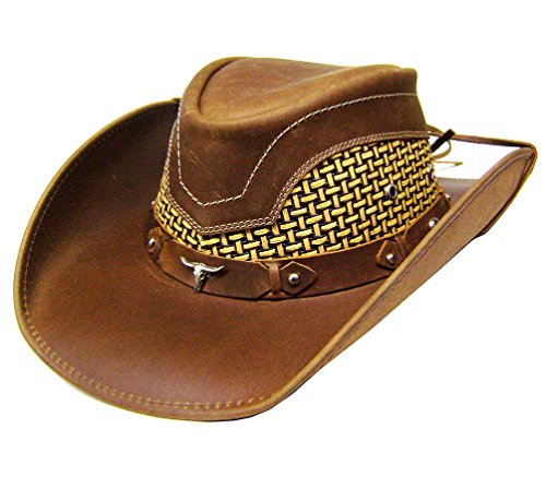 modestone-unisex-leather-chapeaux-cowboy-breezer-concho-brown