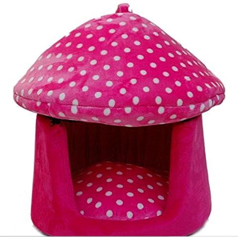 WXX dual-use Lettiera di cuccia Small Dog Pet House in primavera e in estate Yurt Kennel Pads 40*40*45 rosa