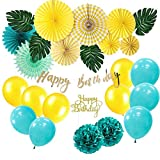 SUNBEAUTY Tropical Anniversaire Garcon Fille Decoration Kit Jaune Happy Birthday Summer Jungle Birthday Party Decor avec Cake Topper Happy Birthday