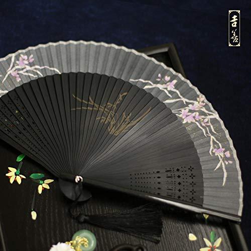 plzxy Fan 6 Zoll Kirsche weiblichen Fan Bambus Fan Seide Faltfächer Cheongsam kleinen Fan im Ausland Geschenk Fan Fan Hochzeit Fan@18,5 cm Fang LAN Du Xiu - Grau (Geschnitzte Modelle)