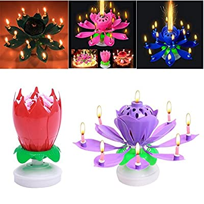 FomCcu Amazing Lotus Rotating Musical Candle for Happy Birthday Musical Flower Magical Blossom Gift by FomCcu