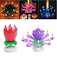 FomCcu Amazing Lotus Rotating Musical Candle Toy for Kids Happy Birthday Musical Flower Toy Magical Blossom Gift