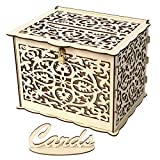 Crylee Wedding Card Box with Lock DIY Money Wooden Gift Boxes Personalised Engraved Wedding Wooden Keepsake Memory Chest Box for Cards Vintage Case for Greeting Birthday, Wedding, Valentine (C)