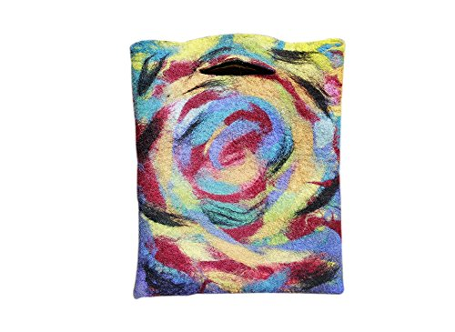 Ysting sentito bag.Felted arcobaleno turbinii, sentito tote bag. Borsa di lana. Bella Tote bag borsa, (Arcobaleno Lana)