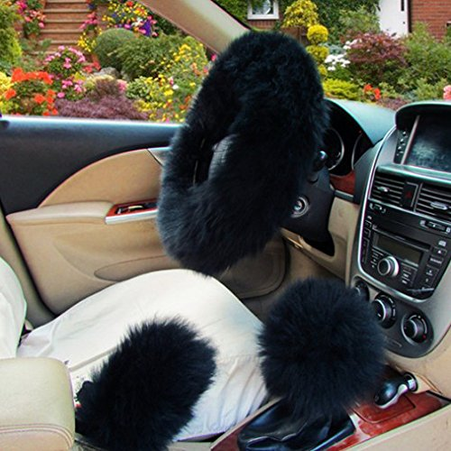 XuanMax Universal Winter Lang Plusch Lenkradbezug Set mit Feststellbremse Shift Knob Bezuge Atmungsaktiv Fahrzeug Weich Warm Lenkradhulle Anti-Rutsch Pelz- Flaumig Lenkradschoner Auto Lenkrad Abdeckung Lenkradabdeckung Furry Fluffy Long Plush Steering Wheel Cover 38cm - Schwarz