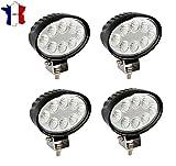 Set di 4 fari/lampade da lavoro ovali a LED, 24 W, 12/24 V, per macchine edili, trattori, camion, rimorchi, cortili di servizio e giardini