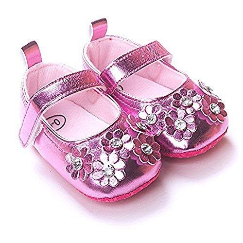 Ephex Baby Mädchen Krabbelschuhe Weiches Leder Mit Blumen Für 3 bis 18 Monate Pink