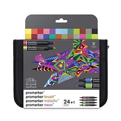 Winsor & Newton 0290037 Professioneller Layout Mixed Marker 24 Farben Set, 24 im Wallet, 2 Spitzen, fein und breit für Zeichnungen, Design und Layouts
