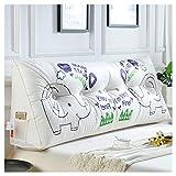 Kopfteil Nachtkissen Lesen Rückenlehnenkissen Elefantenmuster Bett Sofa Weiche Taille Pad Kissen WYQLZ (größe : 120cm)