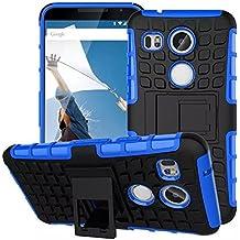 Para LG Nexus 5X, Urvoix híbrida resistente doble capa a prueba de golpes resistente neumático Shell Granada agarre (no para Nexus5) azul
