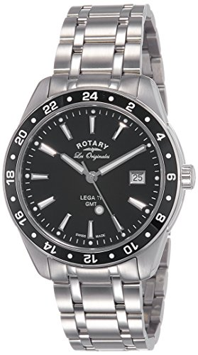 Rotary-Legacy-GMT-Mens-Quartz-Watch-with-Black-Dial-Analogue-Display-and-Silver-Stainless-Steel-Bracelet-GB9017204