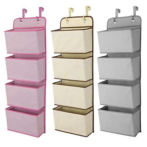 ZHAOLV Mehrschichtige hängende Aufbewahrungstasche 4 Taschen Wandgarderobe Hängende Tasche Wandtasche Kosmetisches Spielzeug Organizer Hängende Aufbewahrungstaschen (Color : Pink)